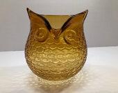 Large Amber Studio Glass Owl Bowl Vase Circa 1960s. Possibly Blenko.