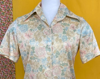 Vintage 70s Goldie California polyester collared Retro shirt Costume