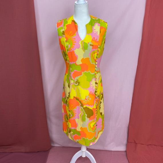 1960s Neon Psychedelic Gregg Draddy Mini Dress | M