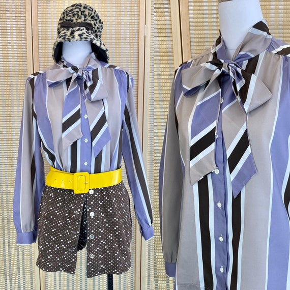 1980s Pussy Bow Tie Striped Top, 80s Button Down S