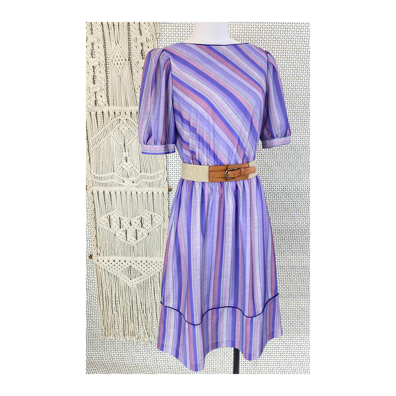 80s Dresses | Casual to Party Dresses 1970S - 1980S Lavender Stripe Boho Dress, Small Medium $0.00 AT vintagedancer.com