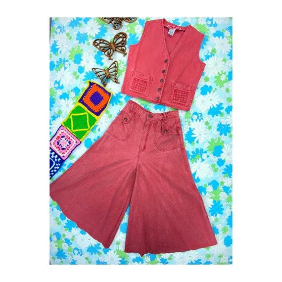 1970s Denim Gaucho & Vest Set, 70s Red Pink Jeans… - image 1