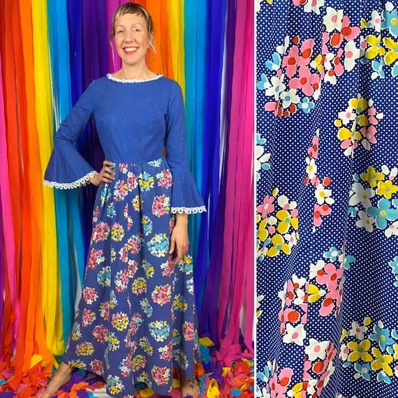 Vintage 1960s Blue Flower Power Maxi Dress