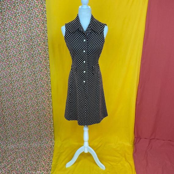 Vintage Dog Ear Collar Polka Dot Mini Dress | Smal