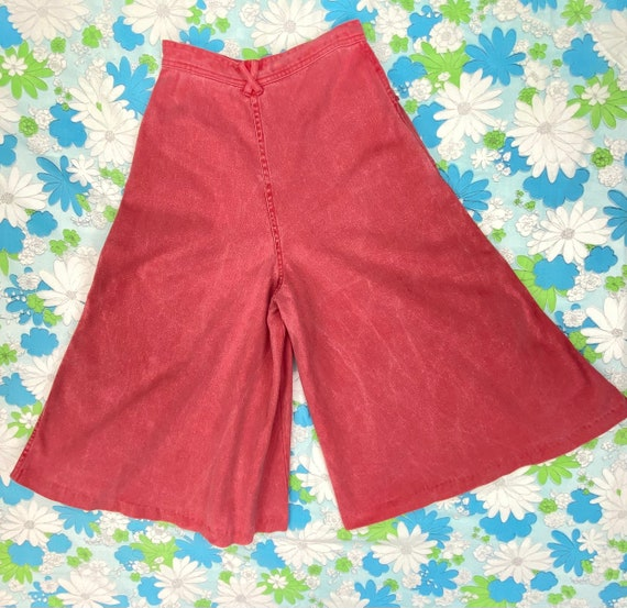 1970s Denim Gaucho & Vest Set, 70s Red Pink Jeans… - image 2