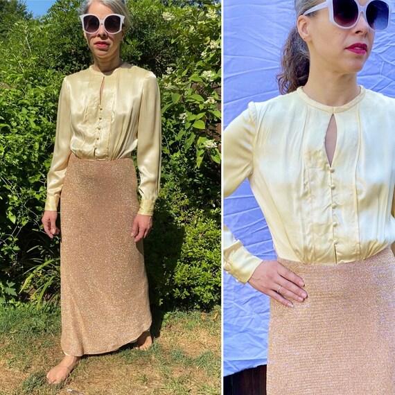 1970s Metallic Gold Evening Gown Maxi Dress | XS -