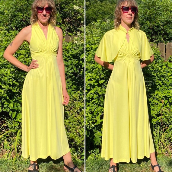 Two Piece 1970s Maxi Dress with Removable Capelet