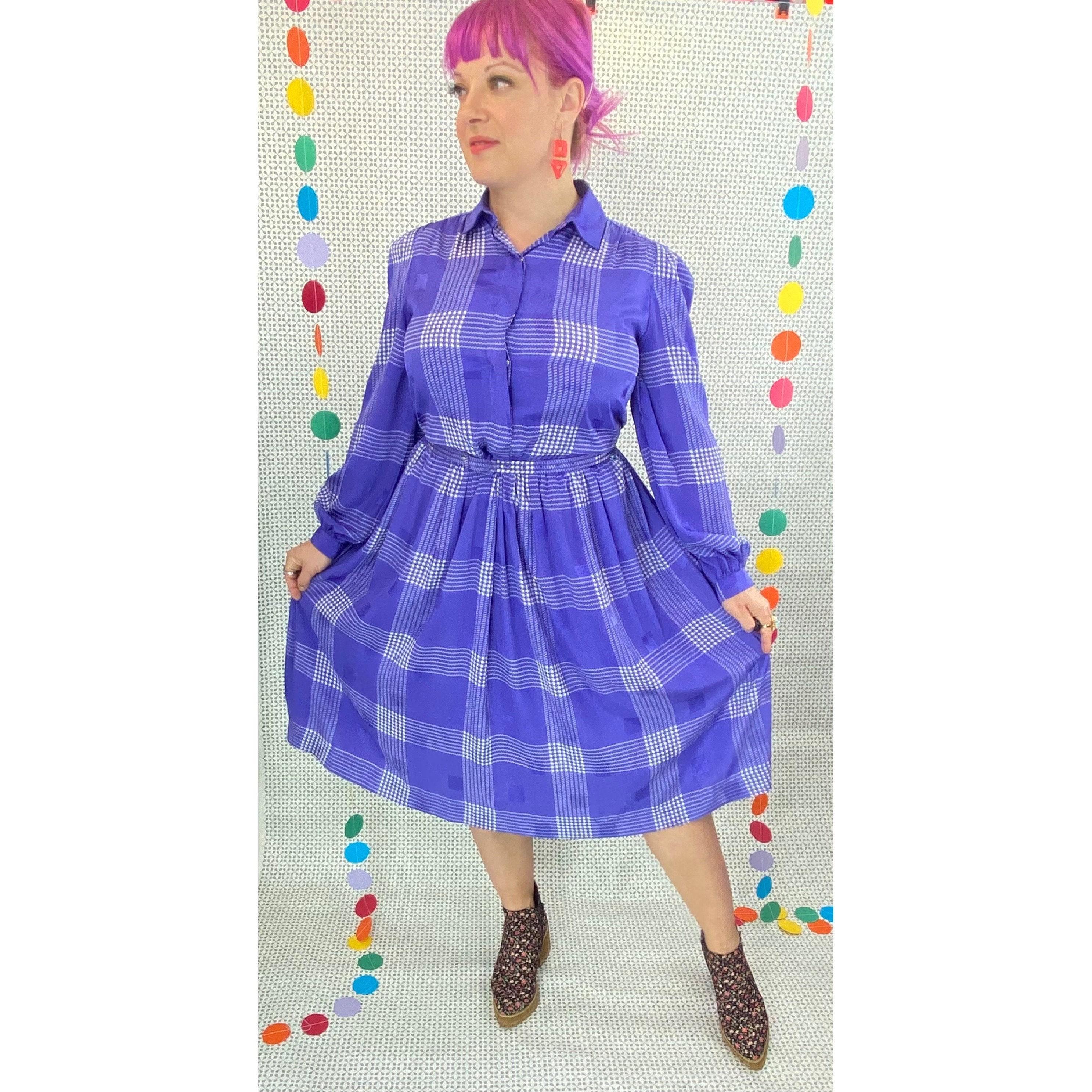 80s Dresses   Casual to Party Dresses 1980S 1990S Liz Claiborne Silky Shirtwaist Dress, 80S 90S Purple Plaid Midi Dress  Large $0.00 AT vintagedancer.com