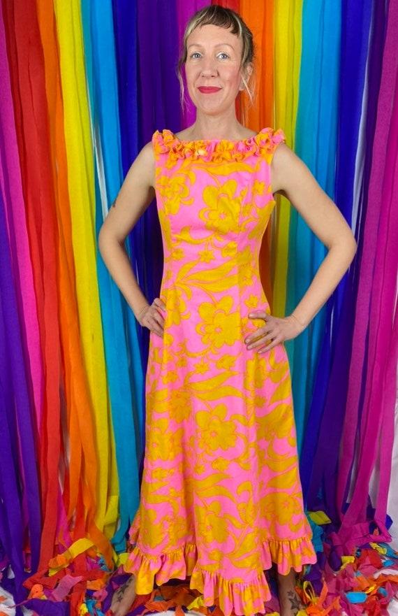 1960s Hawaiian Maxi Dress, 60s Psychedelic Hostess