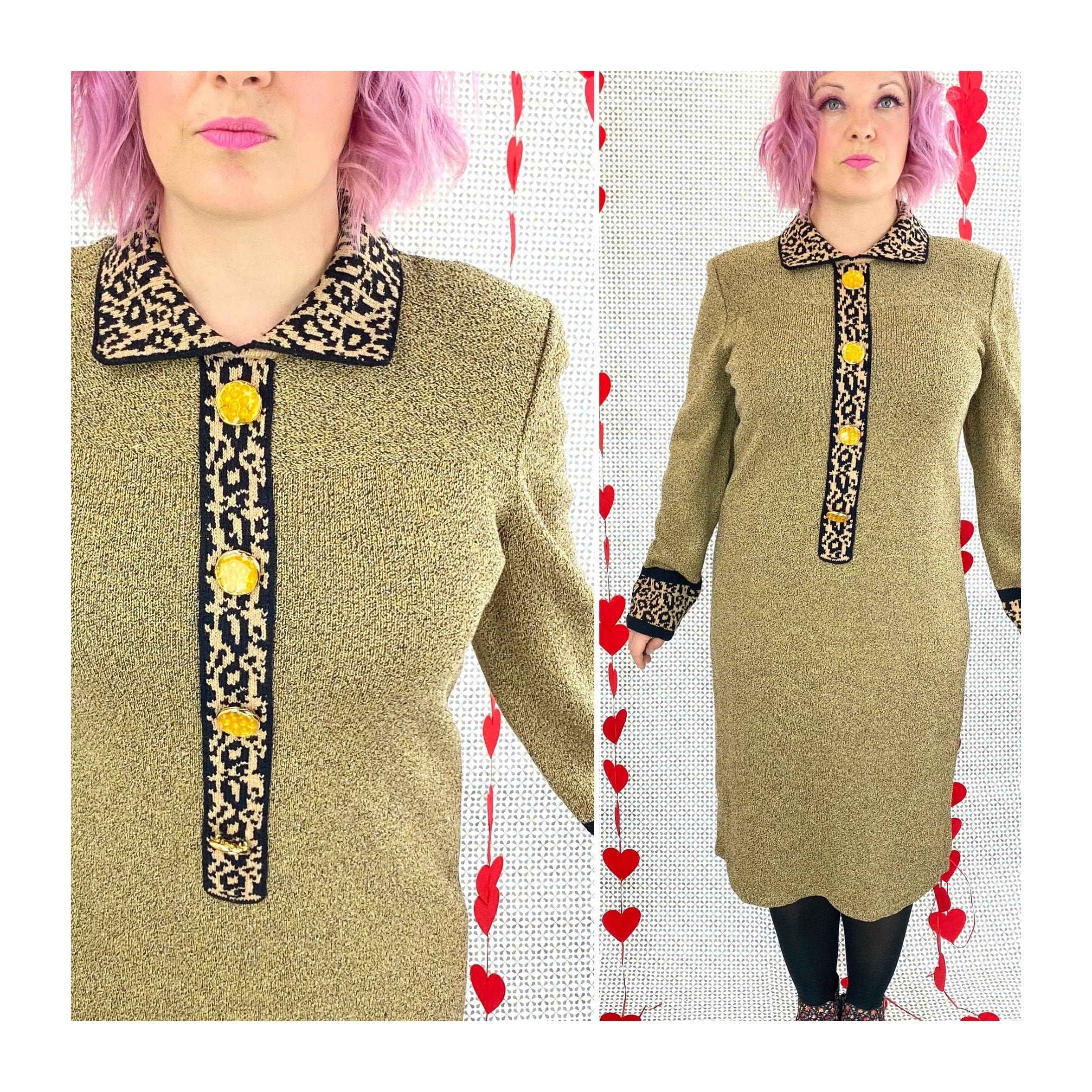 80s Dresses   Casual to Party Dresses 1980S Leopard Print Sweater Dress, 80S Knit Long Sleeve Winter Midi, Collared, Shoulder Pad  Large - Extra Xl $0.00 AT vintagedancer.com