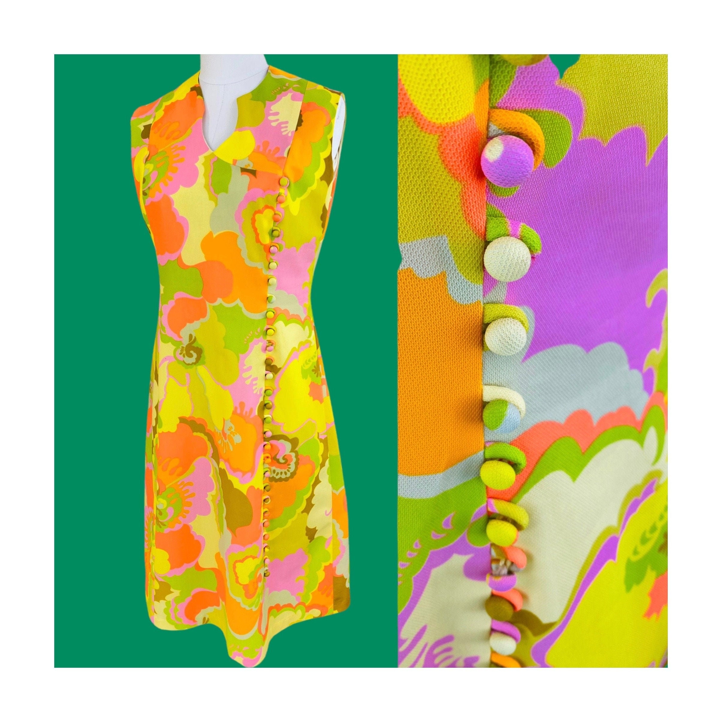 80s Dresses   Casual to Party Dresses Rare 1960S Neon Psychedelic Sleeveless Flower Power Dress, 60S Button Embellished Carnaby Street Mod Floral Shift  Medium Gregg Draddy $0.00 AT vintagedancer.com