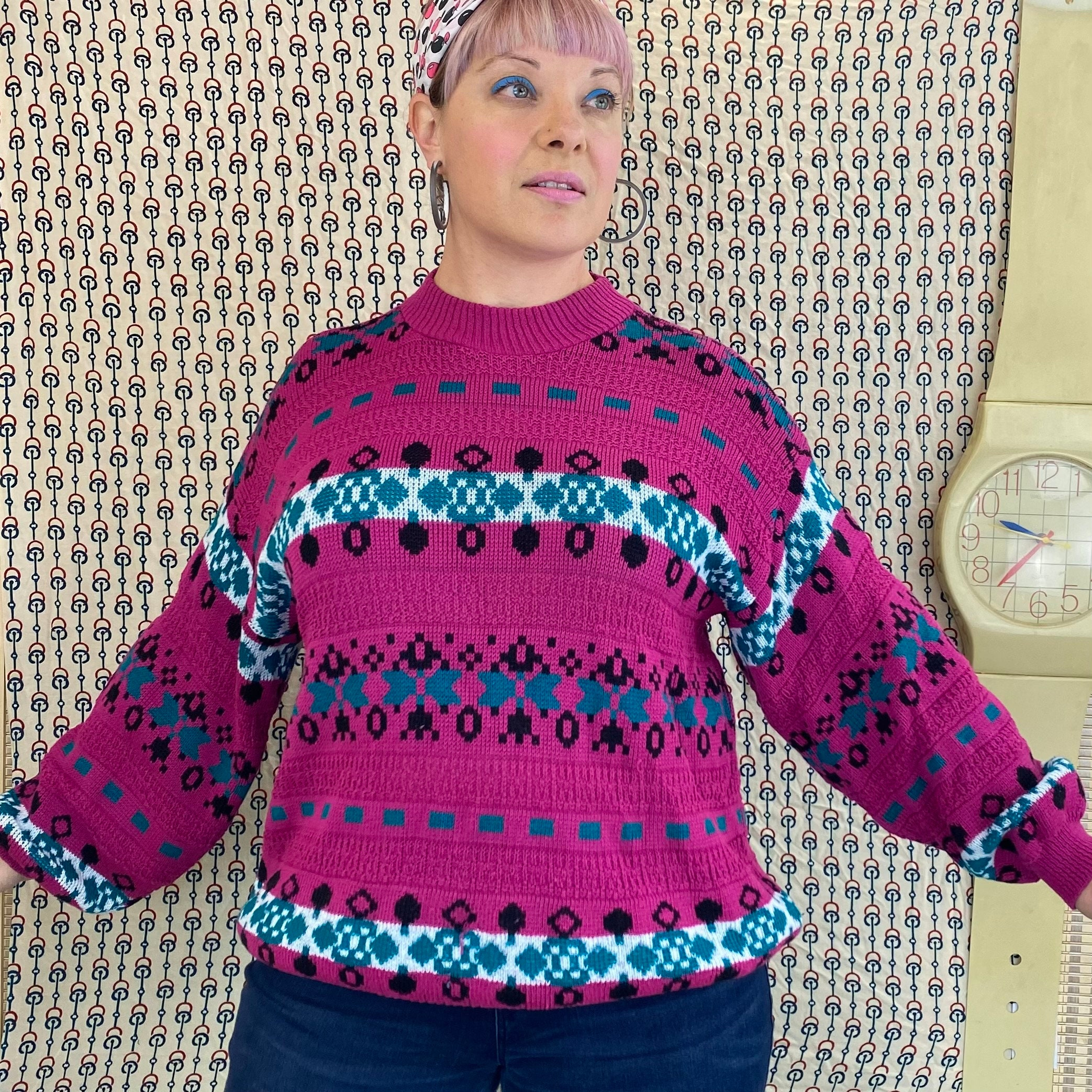 80s Sweatshirts, Sweaters, Vests | Women 80S 90S Oversize Knit Sweater, 1980S 1990S Magenta  Teal Granny Pullover, Boxy, Slouchy  Large - Extra Xl $27.00 AT vintagedancer.com