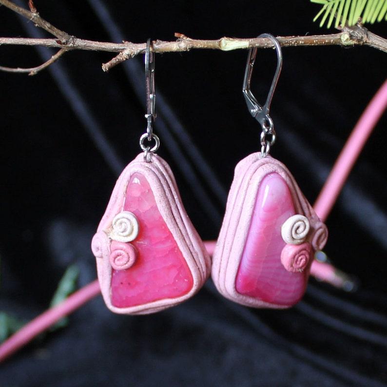 Pink leather earrings Large agate earrings Pink agate necklace Large agate necklace Pink agate earring Leather pink necklace Pink Onyx