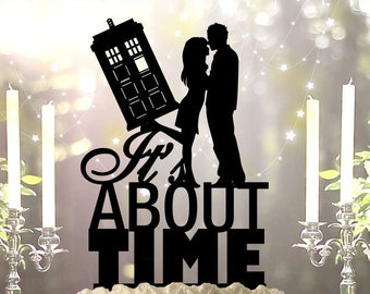 It's About Time Tardis Couple Wedding Cake Topper