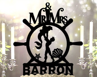 Ariel and Eric Nautical Personalized Wedding Cake Topper