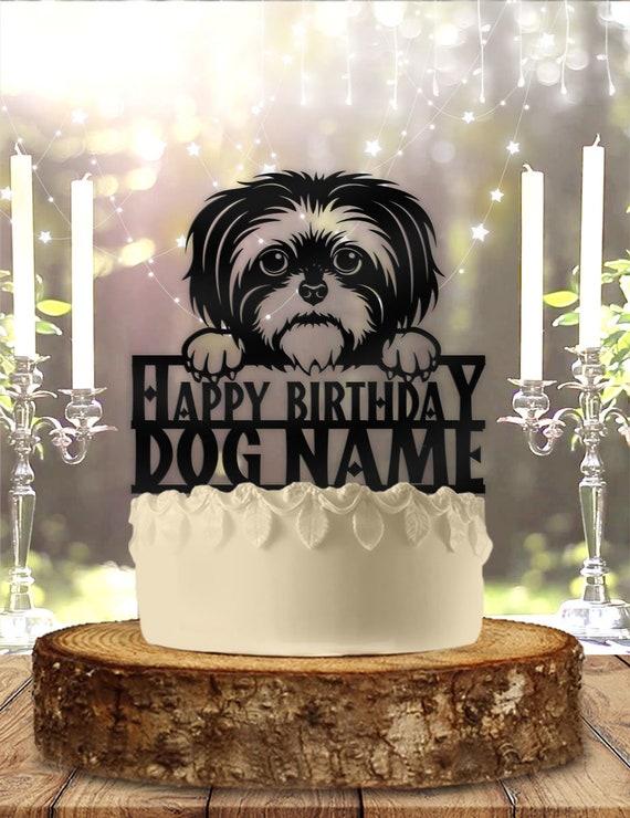 Incredible Shih Tzu Dog Pet Personalized Birthday Cake Topper Etsy Funny Birthday Cards Online Ioscodamsfinfo