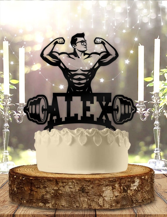 Personalised Acrylic Male Bodybuilder Birthday Keepsake Cake Topper Decoration