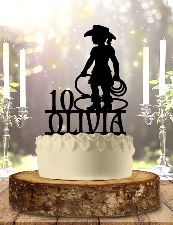 Fine Girls Cowgirl Birthday With Age Cake Topper Etsy Personalised Birthday Cards Sponlily Jamesorg