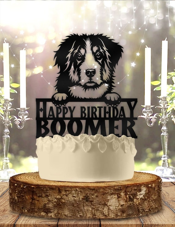 Bernese Mountain Dog Pet Personalized Birthday Cake Topper