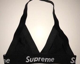 b8d45365d154 AUTHENTIC reworked designer inspired supreme black bralette bra crop top