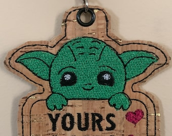 Baby Yoda Yours I Am! Embroidered Keychain