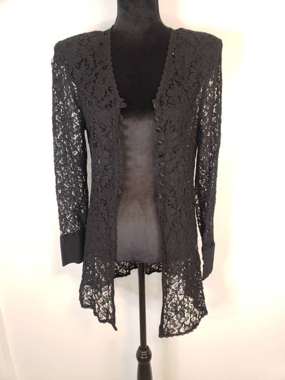 VTG Lace Tunic Cardigan 80s 90s Goth Grunge Androg