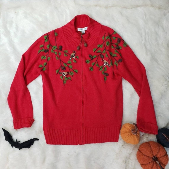 Beautiful beautiful embroidered red sweater!