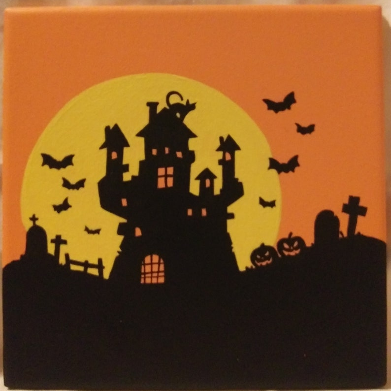 Halloween Haunted House  Hand-painted Ceramic Tiles / image 0