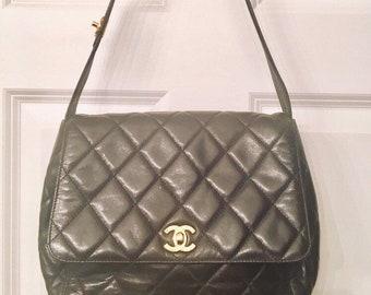 db2e2830c111 Authentic Chanel Brown Quilted Bad Handbag Hobo Satchel Shoulder Bag Vintage  Leather