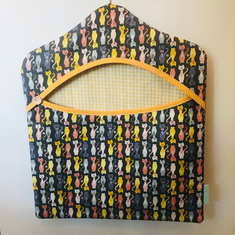 Handmade Clothes Peg/ Clothes Pin Bag  Cats with Yellow Trim image 0