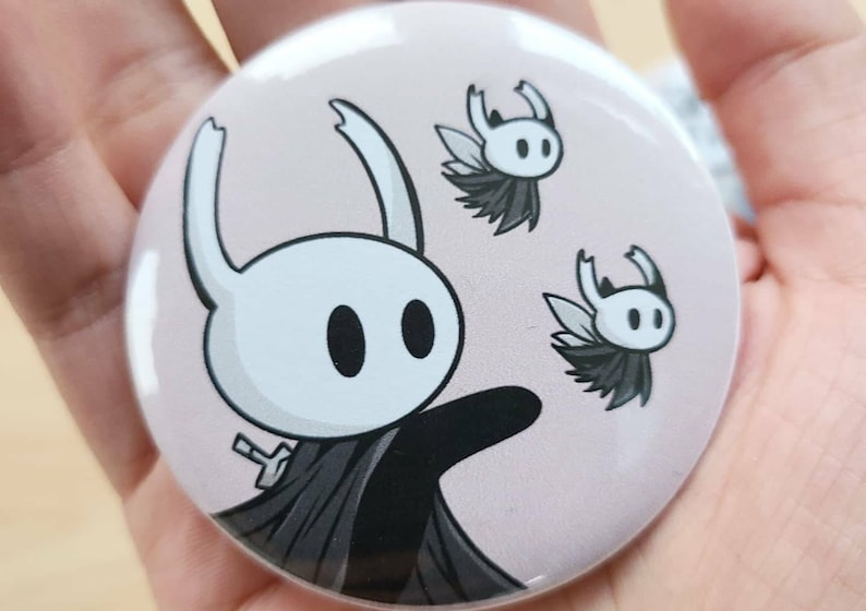 Hollow Knight Quirrel and Knight matching Pin Back Buttons 2.28 inch