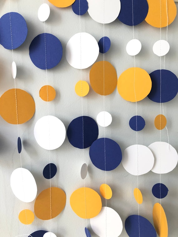 Blue Gold White Decor Royal Blue Golden Yellow Paper Garland Graduation Party Decorations Boy S Birthday Party 10 Ft Long
