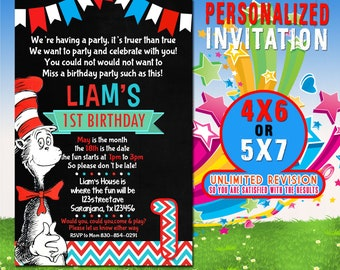 Cat In The Hat Birthday Invitations Etsy
