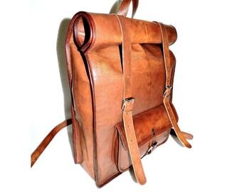 d81df5d87eec9d 18/20/22 Zoll echte Leder Vintage Tasche für Picknick, Rucksack Schule Buch Tasche  Tasche Männer Frauen braun /handtasche Ziege Leder Rucksack für ihn ihre