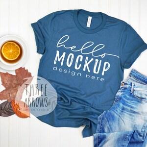 Bella Canvas 3001 steel blue Flat Lay Mockup Mock Up Flat Lay Bella Canvas mock up,T-shirt Mockup,Unisex Tee Mockup Mock Up