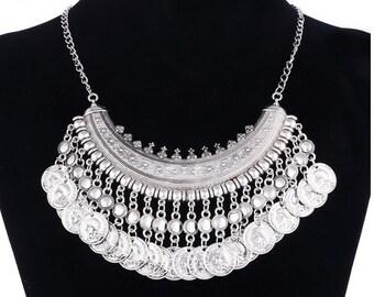 a8a40f1ce4b Vintage Silver Maxi Statement Necklaces   Pendants Women Bohemian Coin Necklace  Female Choker Collier Femme Bijoux Jewelry