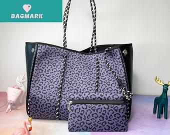 Purple leopard grain with small zippered purse Neoprene tote, neoprene tote bag,purses and bags,beach tote, neoprene bag,tennis bag