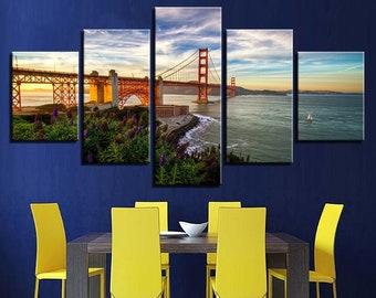 Golden Gate Bridge California Landscape Photo Canvas Print Pictures Frames Home
