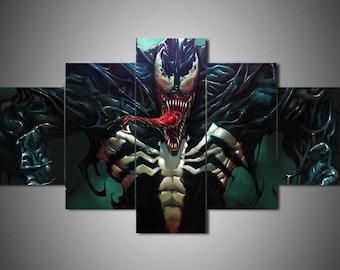Venom Marvel Avengers DC 5 Piece Panel Canvas Wall Art Hanging Print Home Decor