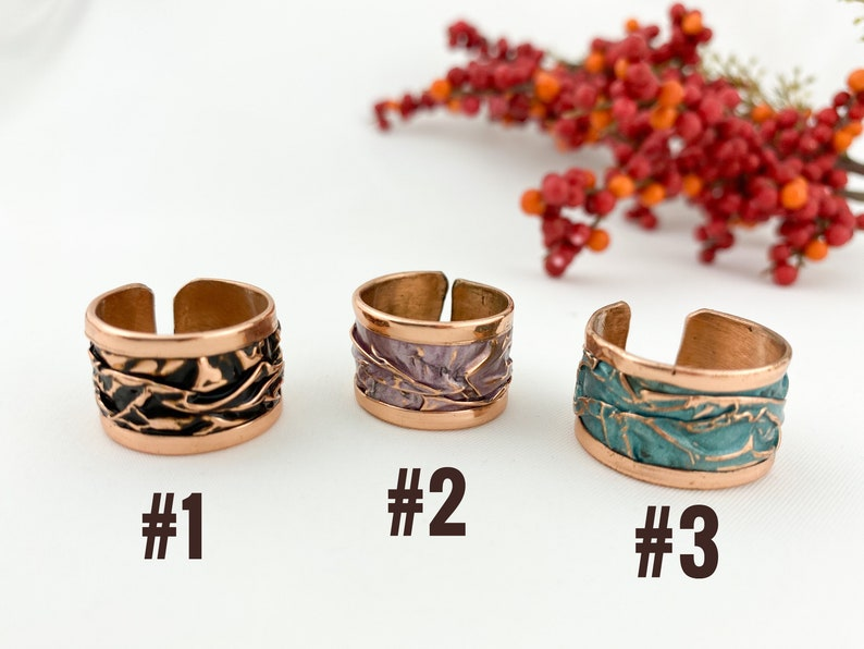 Handmade Thumb Ring Hammered Band Ring Adjustable Statement Wave Rings Cuff ring