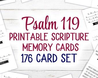 Psalm 119 Scripture Cards (Printable)  | 176 Card Set | KJV | 4.25 x 3.6 inches