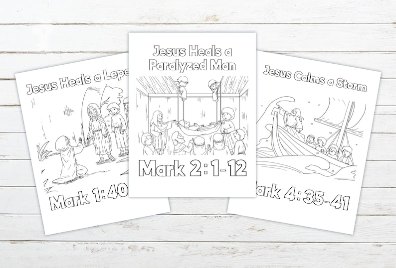 Miracles of Jesus Printable Coloring Pages  3 Page Set image 0