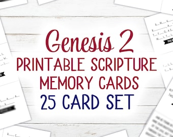 Genesis 2 Scripture Cards (Printable) | 25 Card Set | KJV | 4.25 x 3.6 inches