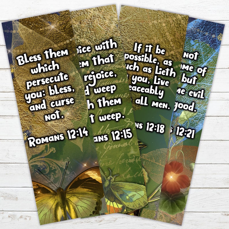 4 Printable Bookmarks with Bible Verses from Romans Chapter 12 image 0