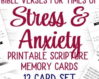 Bible Verses for times of Stress (Printable) | 12 Card Set | KJV | 4.25 x 3.6 inches