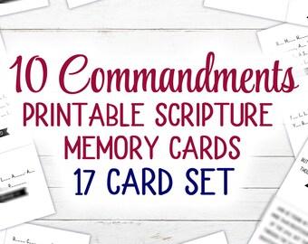 10 Commandments Scripture Cards (Printable) | 17 Card Set | KJV | 4.25 x 3.6 inches