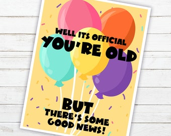 You're Old Birthday Card | (Printable) | 4 Card Set | 4 x 5 inches | Fits in A2 sized envelopes