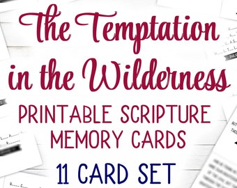 Temptation in the Wilderness Scripture Cards (Printable) | 11 Card Set | KJV | 4.25 x 3.6 inches
