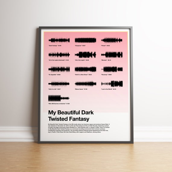 Minimal Soundwave Art My Beautiful Dark Twisted Fantasy By Etsy