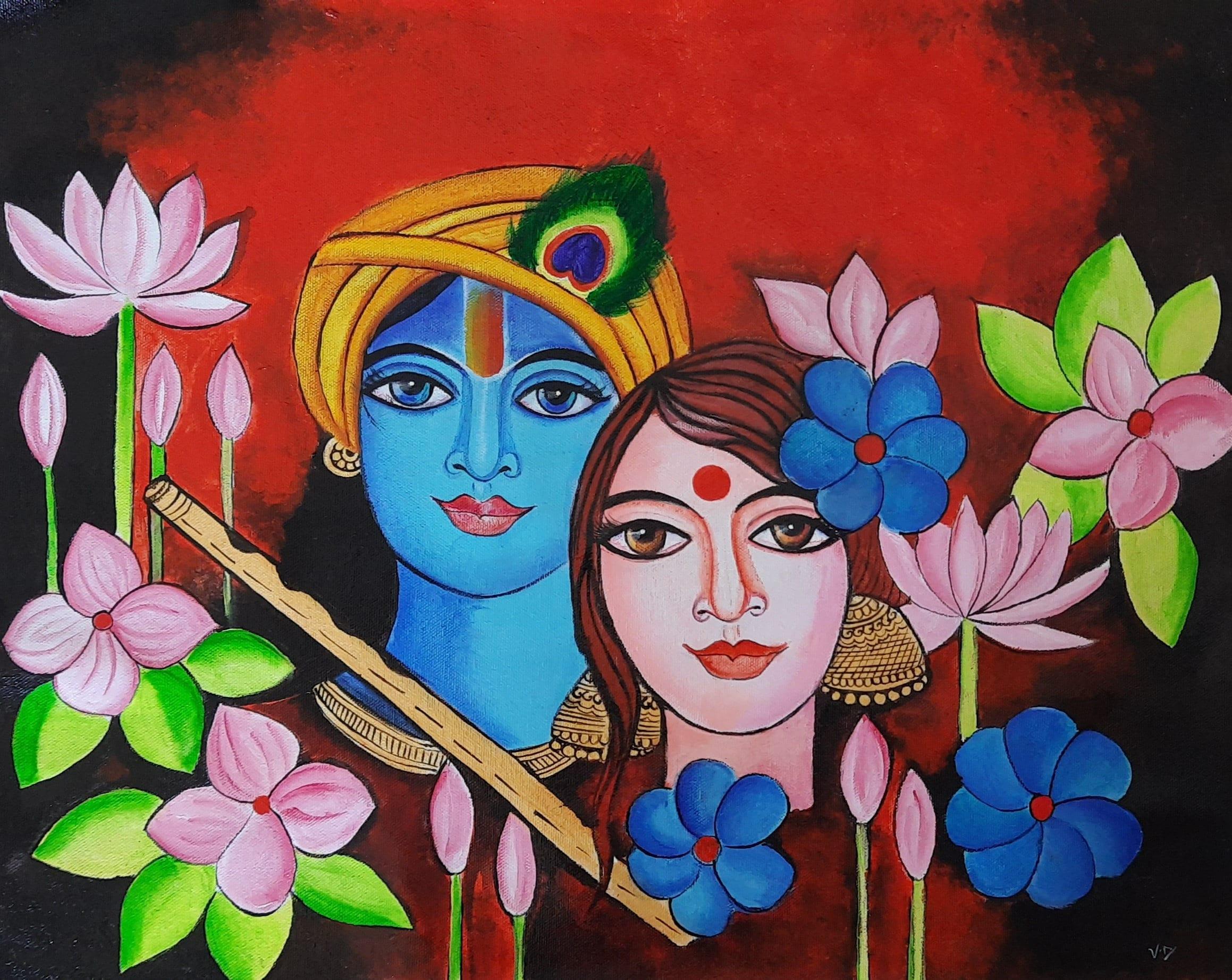 Radha Krishna Contemporary Art Radha Krishna Painting Indian Etsy